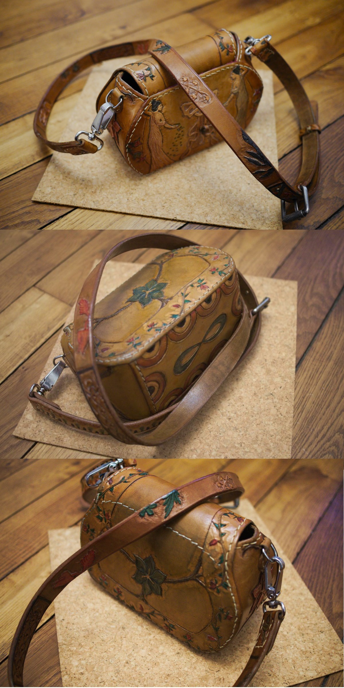 A leather purse with modern art style